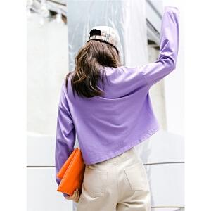 七格格黑色t恤长袖女上衣早秋装女2018新款慵懒原宿少女风宽松韩版百搭