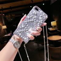 新款苹果8plus手机壳6splus时尚奢华珍珠水钻7p欧美斜挎带挂绳xs max可以背的背包式iP 银色 XR