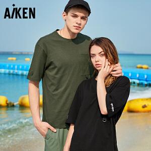 Aiken爱肯2018夏季新品男女宽松T恤口袋新款半袖运动情侣休闲体恤