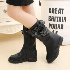 2018冬季新款儿童靴子保暖高筒靴韩版花朵百搭小公主黑色女童靴子