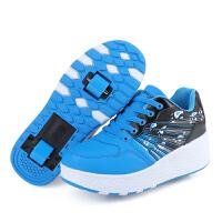 童鞋暴走鞋男双轮隐形按钮轮滑鞋男童女童轮子溜冰鞋轱辘鞋子