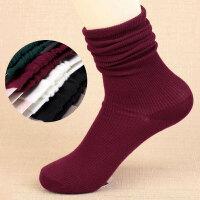 春夏秋冬季堆堆袜女韩国棉薄款纯色细竖条纹复古森系短靴中筒袜