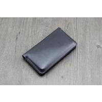 双手机套 xr保护套iphone 7 8PLUS双机皮套华为mate20包 中号 黑色 极简有卡位