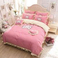 卡通凯蒂猫床上四件套贴布绣KT猫被套床单1.5m1.8m双人被罩三件套