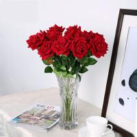 仿真玫瑰花套装欧式假花玫瑰花客厅餐桌摆件花艺插花摆设家居装饰l2r