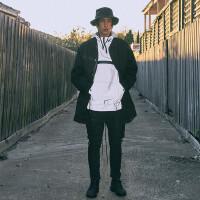 冬季韩版男 中长款男士休闲外套时尚帅气大衣潮流棉衣 黑色