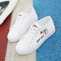 2018新款帆布鞋女学生秋冬韩版平底百搭小白鞋加绒二棉保暖板鞋子 白色 单里