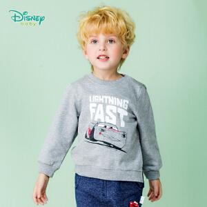 迪士尼Disney儿童男童宝宝休闲长袖圆领卫衣肩开扣外出服套头上衣183S1061