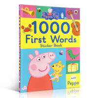 英文原版 Peppa Pig: First 100-1000 Words Sticker Book 佩佩猪1000单词书 小猪佩奇游戏贴纸书 粉红猪小妹词汇认知