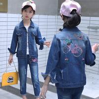 童装女童秋装牛仔套装儿童时尚运动时髦两件套装潮衣