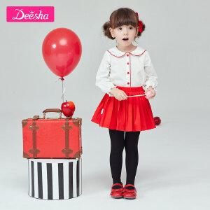 【99元3件专区】笛莎童装女童长袖衬衫2019春季新款小童撞色娃娃领女童上衣衬衣