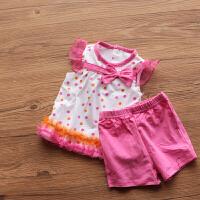 美!婴儿童装女童两件套装 0-1-2岁婴幼儿女宝宝夏装纯棉短裤套装