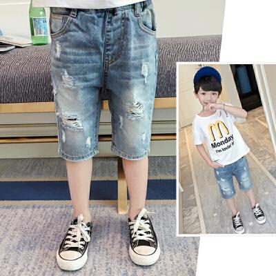 男童牛仔短裤新款韩版儿童七分裤夏季破洞
