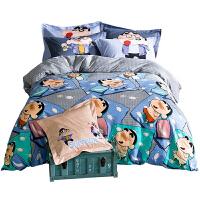 夏上新卡通床上四件套全棉蜡笔小新儿童三件套床上用品纯棉床笠款樱桃小丸子