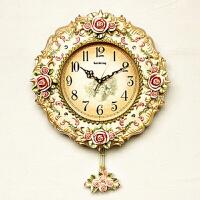欧式挂钟客厅餐厅摆钟创意艺术壁挂钟表田园静音复古装饰时钟 20英寸