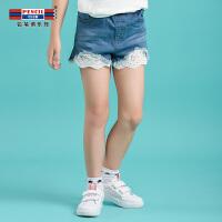 【3折价:47.7】铅笔俱乐部童装2020夏装新款女童牛仔裤中大童短裤儿童五分裤裤子