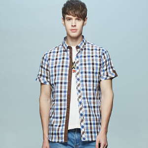 男式亚麻款男式短袖衬衫 清爽蓝咖白格