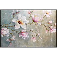 玉兰花卉油画纯手绘客厅装饰简约现代北欧沙发背景墙抽象餐厅挂壁 带框 70*100 单幅