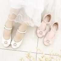 女童皮鞋春秋季淑女公主鞋软底半空鞋中小女孩童鞋儿童单鞋女