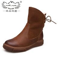 玛菲玛图复古马丁靴女英伦风女鞋秋冬新款真皮中筒靴皮毛一体雪地靴女设计师女鞋530-53