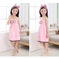 儿童浴巾棉沙滩可穿式个性吸水游泳小孩卡通的浴裙 儿童公主浴裙-粉色 身高70-100cm