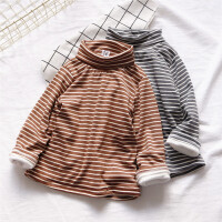 入冬毕备 婴幼儿宝宝加绒中高领条纹打底衣 女童纯棉双层打底衫