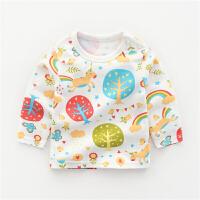 女宝宝长袖T恤秋冬打底衫上衣女童0岁1秋装2婴儿秋衣2018新款 彩虹小树 长袖T恤