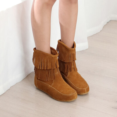 靴子女短靴内增高流苏靴瘦瘦靴棉靴平底靴保暖加绒棉鞋女雪地靴