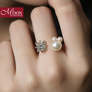 新年礼物Mbox戒指 日韩女原创采用波西米亚风贝珍珠戒指指环戒圈 星星点灯