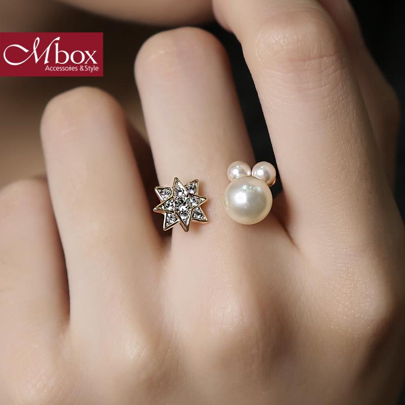 新年礼物Mbox戒指 日韩女原创采用波西米亚风贝珍珠戒指指环戒圈 星星点灯韩版潮流 小资原创 送精美包装