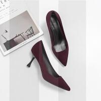 高跟鞋女秋冬2018新款网红羊皮细跟中跟猫跟黑色职业尖头单鞋女鞋SN9363 酒红色 7cm