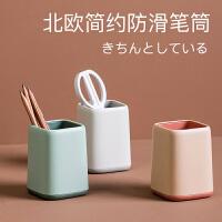 新款4色马卡龙果冻色筒化妆工具架小清新文具收纳盒笔