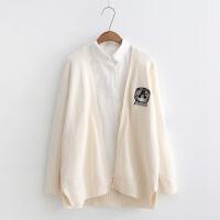 秋季新款韩版可爱刺绣毛针织衫开衫外套中长款女学生毛衣宽松 均码