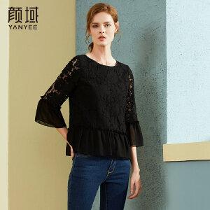 颜域品牌女装2018春秋季新款减龄蕾丝拼接圆领喇叭袖黑色雪纺衫上衣
