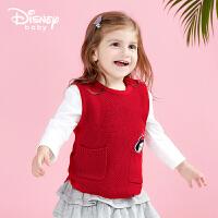 迪士尼Disney童装马甲新品春秋女童背心保暖外出服宝宝休闲上衣打底衫181S995