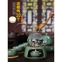 龙泉青瓷蜡烛煮茶器陶瓷日式复古加热底座日式酒精灯家用保温茶炉