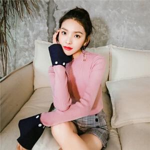七格格拼接长袖毛衣女秋季新款韩版时尚小清新学生针织衫上衣