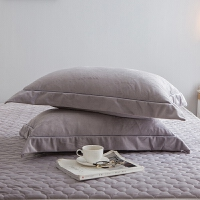 水晶绒枕套一对通用单人枕套加绒加厚春秋法莱绒珊瑚绒 48cmX74cm