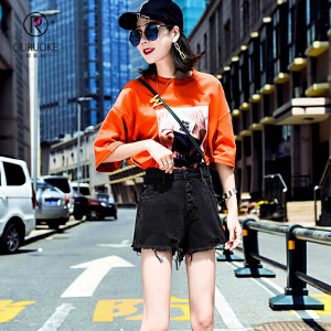 欧若珂  2018夏季韩版学生高腰破洞毛边黑色牛仔短裤女宽松阔腿热裤子