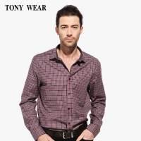 TONYWEAR汤尼威尔男士春季商务休闲小方格长袖衬衫衬衣