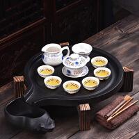 紫砂茶具套装家用功夫陶瓷茶杯储水式茶台茶托茶道实木茶盘