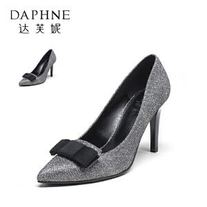 Daphne/达芙妮 秋季优雅蝴蝶结高跟鞋浅口格利特女单鞋