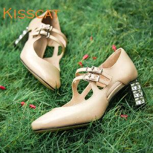 接吻猫牛皮方头浅口单鞋女真皮玛丽珍鞋水钻粗高跟女鞋DA76115-51