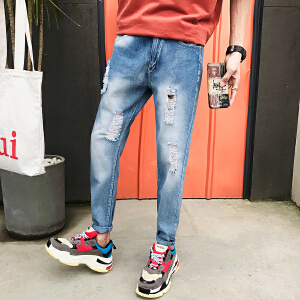 夏季新款男士牛仔裤破洞小脚裤修身港风修身韩版裤子