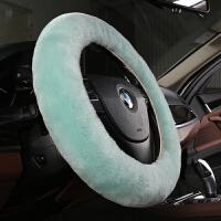 方向盘套 冬季纯羊毛女新款圆形通用型防滑毛绒男D型汽车把套