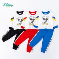 【2件3折到手价:79.5】迪士尼Disney童装 男宝宝运动套装纯棉卫衣简约休闲长裤两件套2020年春季新款儿童衣服
