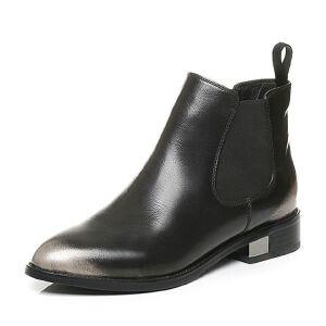 Tata/他她秋季牛皮通勤擦色套筒方跟及踝靴女短靴RXU30CD6