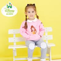 迪士尼 童装女童套装春秋新款三层暖棉宝宝运动休闲长袖棉衣173T693