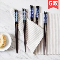 日式实木尖头筷子木筷5双家庭装 家用木质餐具创意个性木头长筷子
