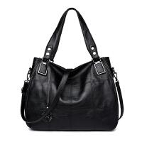 时尚中年女包大包单肩斜挎包手提大容量软皮妈妈包包 黑色